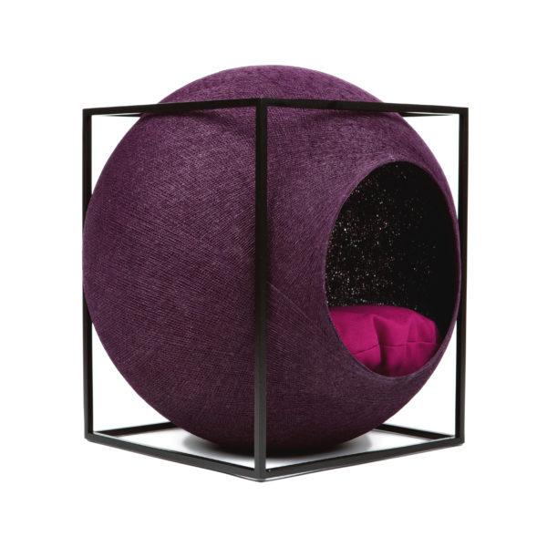 Le cube métal, couchage design pour chat - Prune