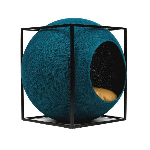 Le cube métal, couchage design pour chat - Bleu paon