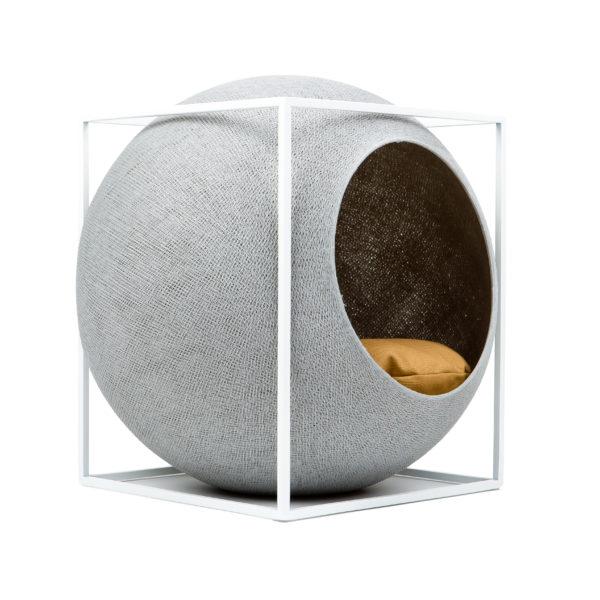 Le cube métal, couchage design pour chat - Gris clair