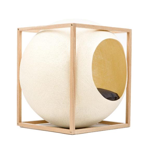 Le cube bois, couchage design pour chat - Champagne