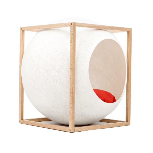 Le cube bois, couchage design pour chat - Blanc