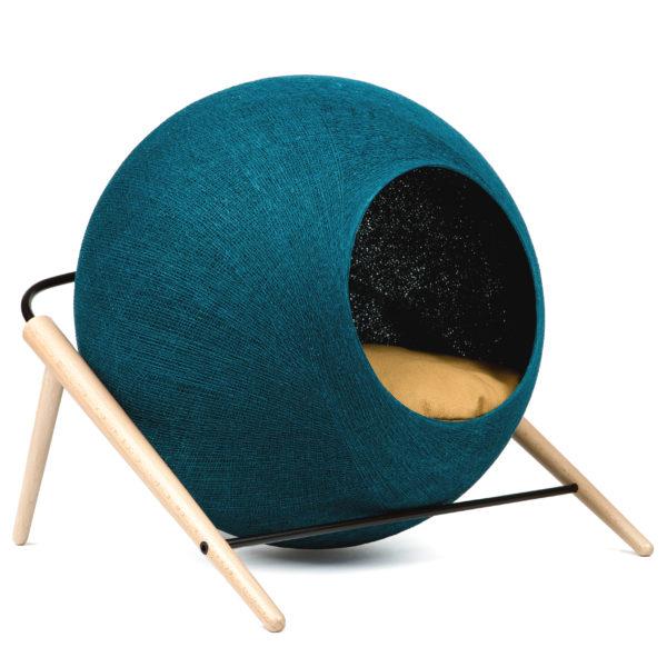 Niche design pour chat bleue paon