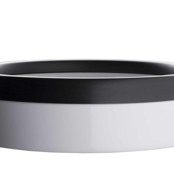 Litière ouverte en céramique blanche et noire